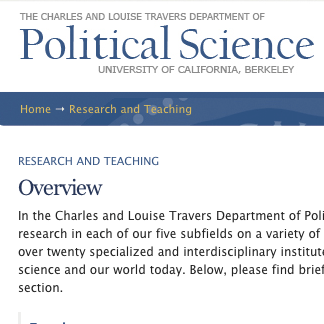 UC Berkeley Political Science Website